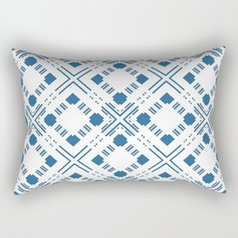 Blue and white geometric pattern . Rectangular Pillow