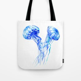 JellyFish, Blue Aquatic Artwork Tote Bag