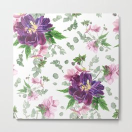 Purple tulips, anemones and eucalyptus Metal Print