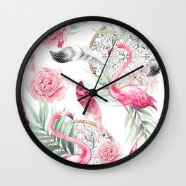 Flowered boho with flamingos Wall Clock