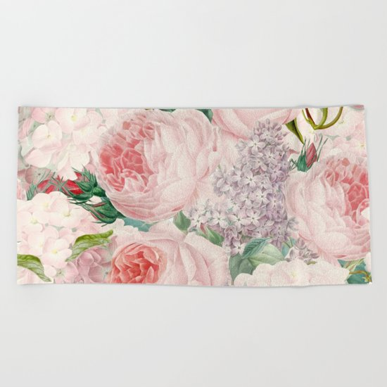Vintage Roses and Lilacs Pattern - Smelling Dreams on #Society6 Beach Towel