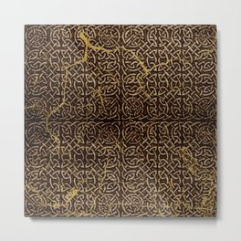 Celtic Wood Pattern with Gold Accents Metal Print