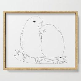 Love Birds line art Serving Tray