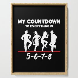 Countdown To Line Dancing Country Music Cowboy Gift Serving Tray