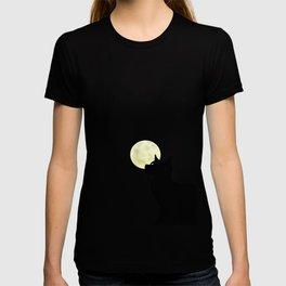 Moon and black cat T-shirt