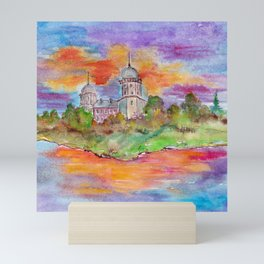 Sunset's landscape with church painting by watercolor Mini Art Print