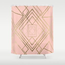 Modern coral faux leather faux gold geometrical pattern Shower Curtain