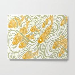 Art Nouveau Swimming Koi by Seasons K Designs Metal Print
