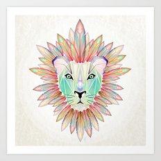 lion colorful Art Print