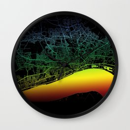 Kingston Upon Hull, England, City, Map, Rainbow, Map, Art, Print Wall Clock