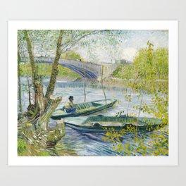 Fishing in Spring the Pont de Clichy Art Print