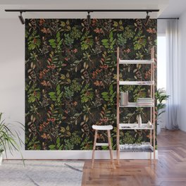 Vintage & Shabby Chic - vintage botanical wildflowers and berries on black Wall Mural