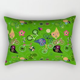 Cycledelic Green Rectangular Pillow