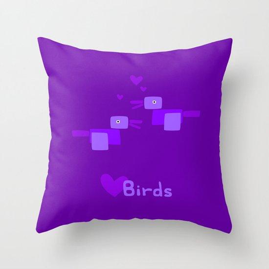 Love Birds-Purple Throw Pillow