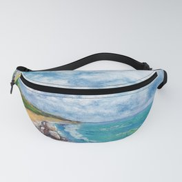 Sea landscape with lighthouse, seagulls and stones painted in watercolor Fanny Pack