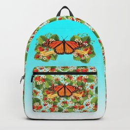 Monarch Butterfly with Strawberries on Aqua Backpack