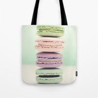 macaron Tote Bags featuring Macaron Tower by Tiny Deer Studio