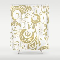 art nouveau Shower Curtains featuring Nouveau by CyberneticGhost