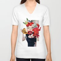 pumpkin V-neck T-shirts featuring Pumpkin  by polina stroganova collages