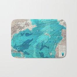 Vintage Blue Transatlantic Mapping Bath Mat