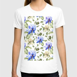 Irisis and lilies - flower pattern no3 T-shirt