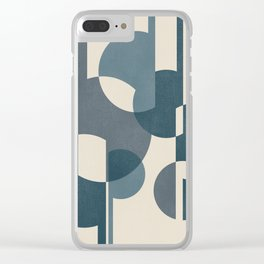 Intersecting Geometric Segments and Lines -Abstract Design in Teal, Aqua, Blue and Ivory Clear iPhone Case