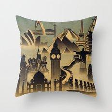 Around the world Throw Pillow