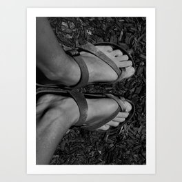 Feet in sandals Art Print