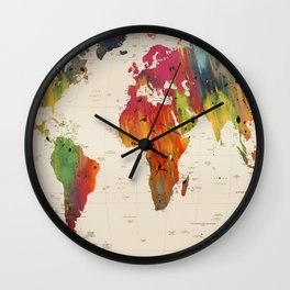 ALLOVER THE WORLD-Painted map Wall Clock