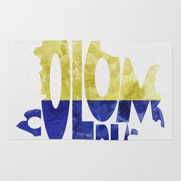 Colombia Typographic World Map / Colombia Typography Flag Map Art Rug