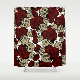 Red Roses & Skulls Black Floral Gothic White Shower Curtain