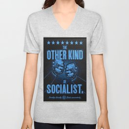 """Vintage Poster """"The Other Kind of Socialist"""" Alcoholic Lithograph Advertisement in dark blue Unisex V-Neck"""