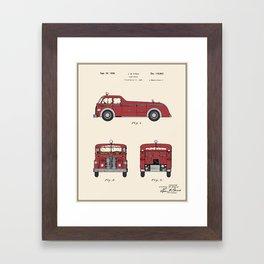 Firetruck Patent - Colour Framed Art Print