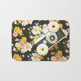 Floral Vintage Camera (Color) Bath Mat