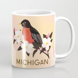 Michigan State Bird and Flower Coffee Mug
