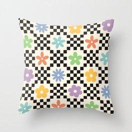 Retro Colorful Flower Double Checker Throw Pillow