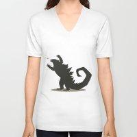 godzilla V-neck T-shirts featuring Godzilla by Arsyl Art