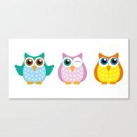 owls Canvas Prints featuring owls by Li-Bro