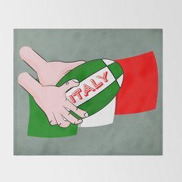 Rugby Italy Throw Blanket