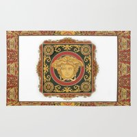versace Area & Throw Rugs featuring Classic Versace by Goldflakes