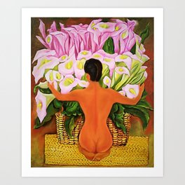 Nude with Calla Lilies by Diego Rivera Art Print