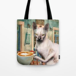 Sphynx Hairless Cat With Coffee Tote Bag
