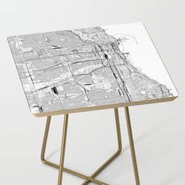 Chicago White Map Side Table