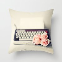 writing Throw Pillows featuring Romance Writing by Caroline Mint