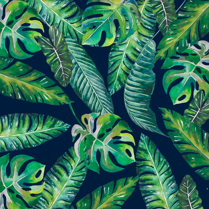 Jungle Leaves, Banana, Monstera, Blue Comforters