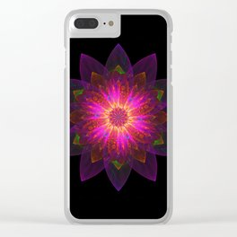 Abstract purple flower 01 Clear iPhone Case
