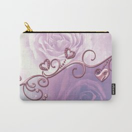 Beautiful violet roses with hearts Carry-All Pouch