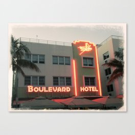 Vintage Style Photo Miami Beach Canvas Print
