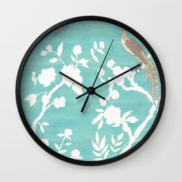 Chinoiserie Panels 3-4 White Scene on Teal Raw Silk - Casart Scenoiserie Collection Wall Clock