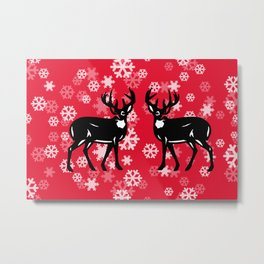 White Snowflakes with tow Reindeer - red Christmas Design Metal Print